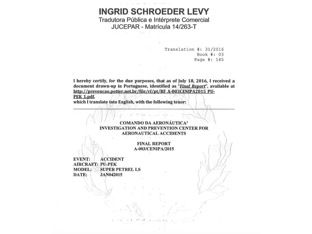 CENIPA Final Report - Super Petrel Sworn translation