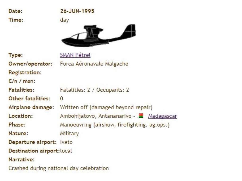 26-JUN-1995 ASN Wikibase Occurrence # 75830 With SMAN Pétrel on Ambohijatovo, Antananarivo Madagascar